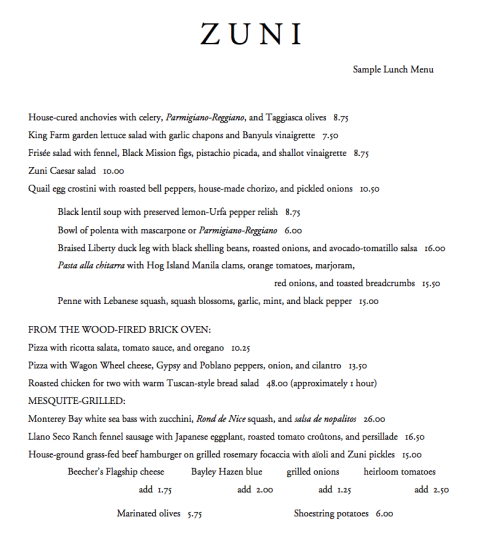 Zuni Cafe Lunch Menu