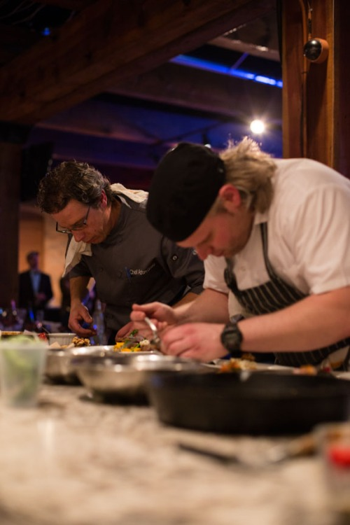 Chef Adam Goetz and sous-chef trying to beat the clock.