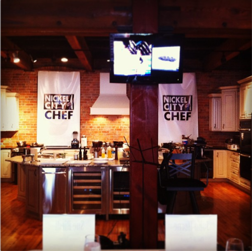 The beautiful kitchen turned studio where the Nickle City Chef Competiton was held