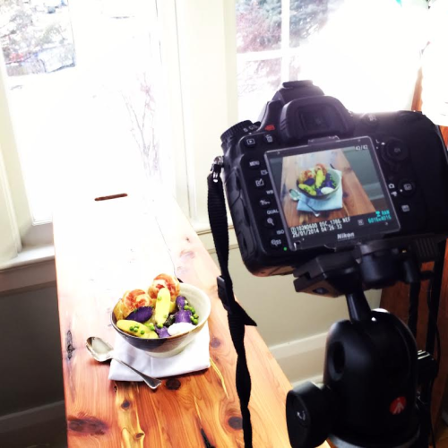 Setting up to shoot Pancetta and Fingerling Potato Salad with Horseradish Creme Fraiche