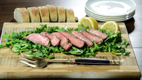 Arugula and Sirloin with a squeeze of lemon and olive oil