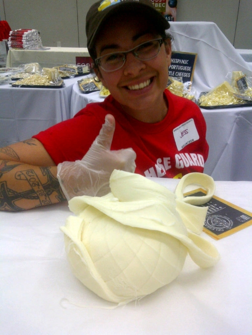 Jess, one of the awesome volunteers, posing with a beautifully spun ball of Oaxaca cheese
