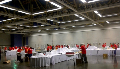 This is only about a quarter of the volunteers who helped set up the Festival of Cheese